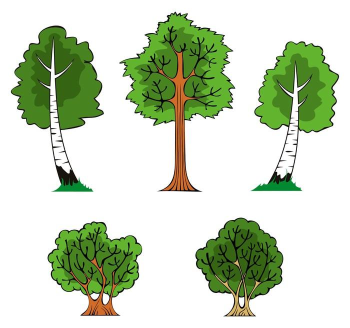 Pixerstick Sticker Bomen en struiken in het bos, vector illustratie - Seizoenen