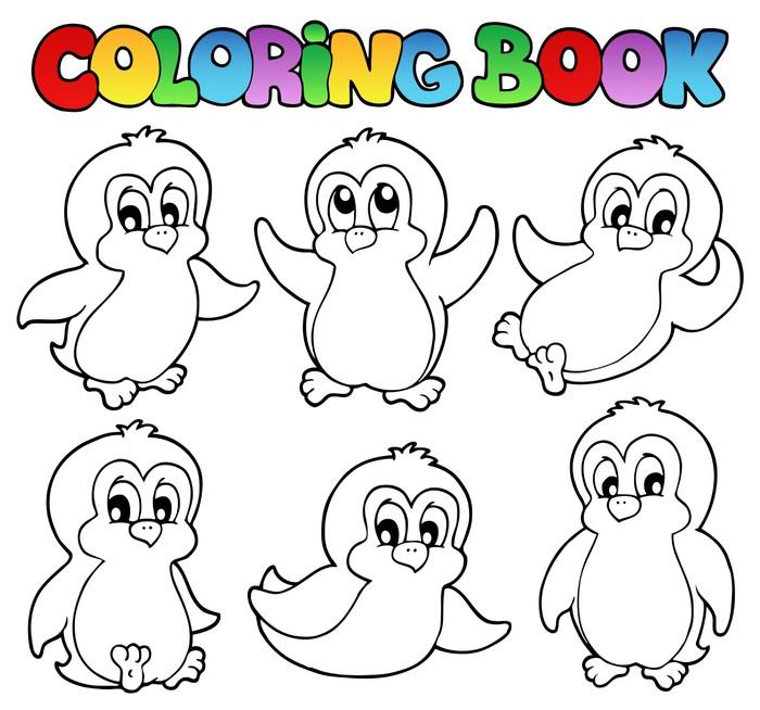 Vinilo Pixerstick Libro para colorear pingüinos lindos 1 • Pixers ...
