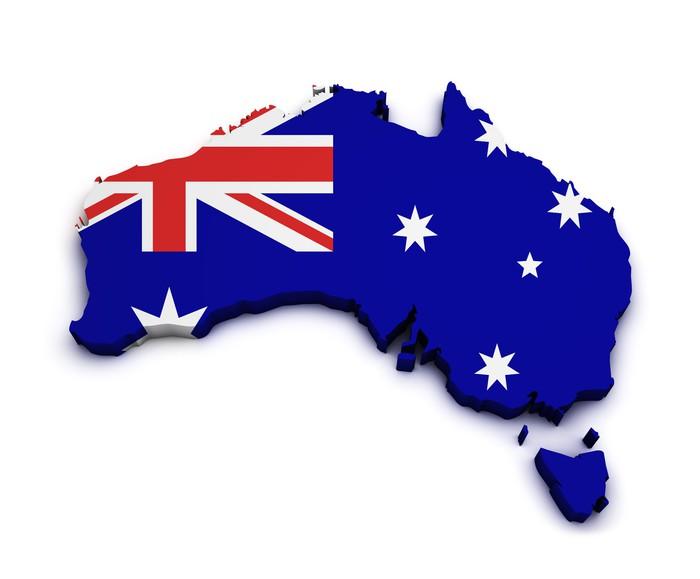 Australia flag map shape pixerstick sticker oceania