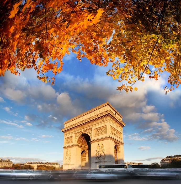 Vinylová Tapeta Slavní Arc de Triomphe na podzim, Paříž, Francie - Evropská města