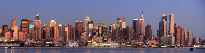 Nálepka Pixerstick New York City Manhattan panorama západu slunce - Amerika