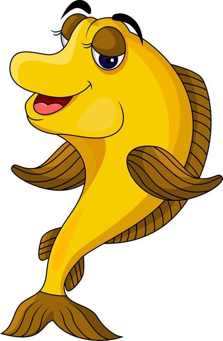 Vinylová Tapeta Funny žluté cartoon fish - Nálepka na stěny