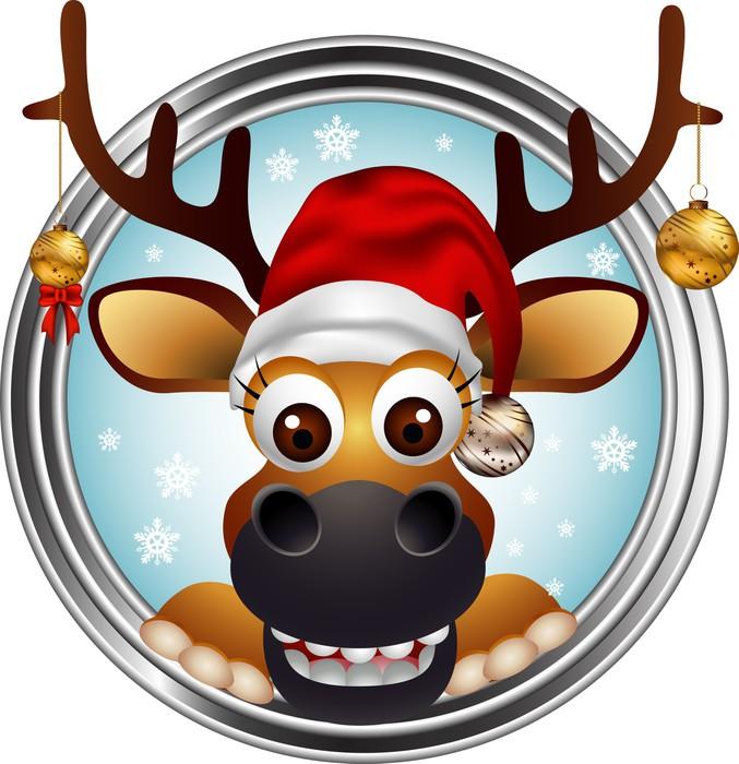 Quadro su tela funny christmas cervo testa cartone animato