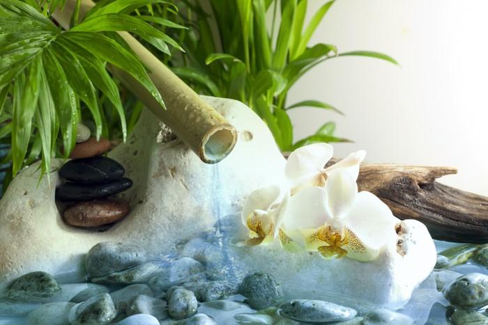 fototapete orchideen und zen steine mit fallenden wasser. Black Bedroom Furniture Sets. Home Design Ideas