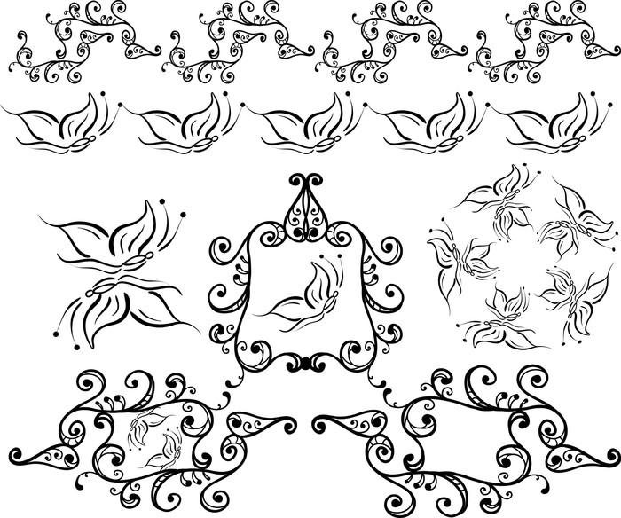 artistic curled frames,borders,brushes Poster • Pixers® • We live to ...