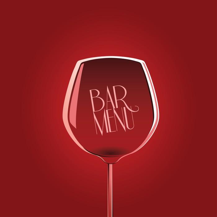 Fototapete Bar Menü-Design-Vorlage mit Glas Wein auf rotem ...