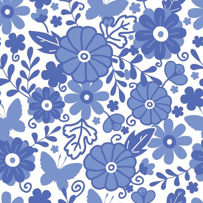 Vinylová Tapeta Vector Delft modré Holandské květiny elegantní bezešvé vzor - Květiny