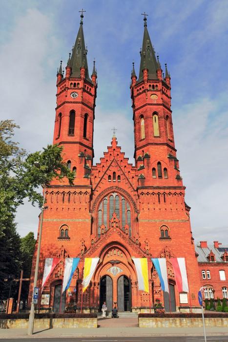Vinylová Tapeta Backsteinkirche mit Doppelturm - Veřejné budovy