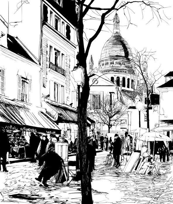 Montmartre in winter Wall Mural - Vinyl - Themes