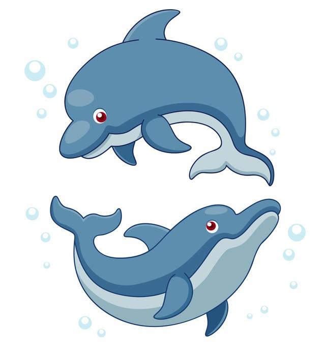 Adesivo illustrazione di cartone animato delfini pixers