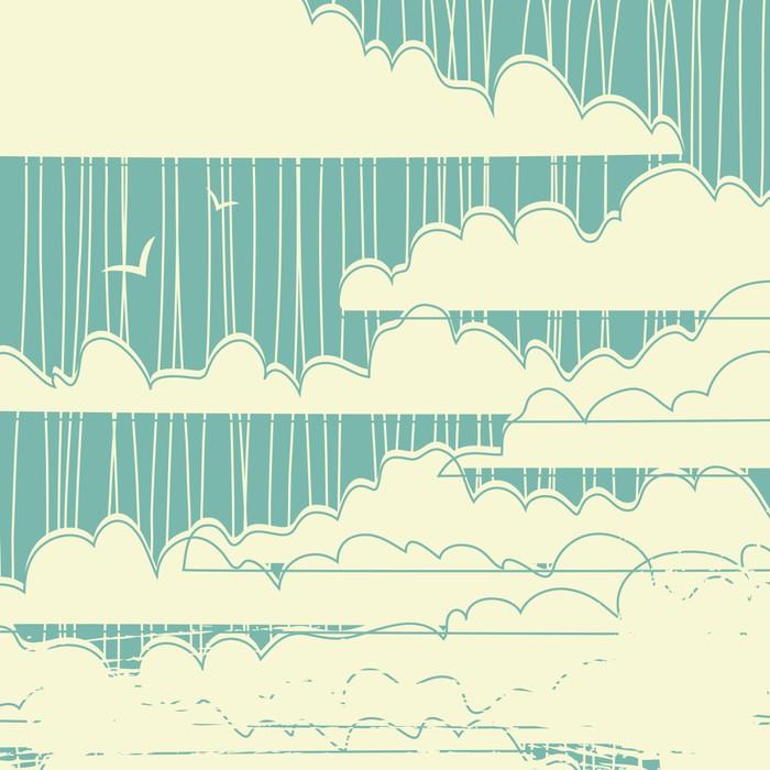 Nálepka Pixerstick Retro výstřední mraky na pozadí - Styly