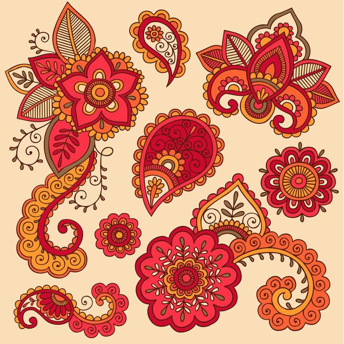 Mehndi Flower Wall : Henna flowers mehndi tattoo doodle design elements wall