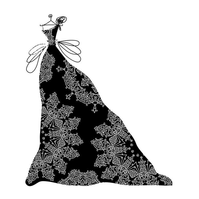 Vinylová Tapeta Náčrt okrasné černé šaty pro svůj design - Slavnosti
