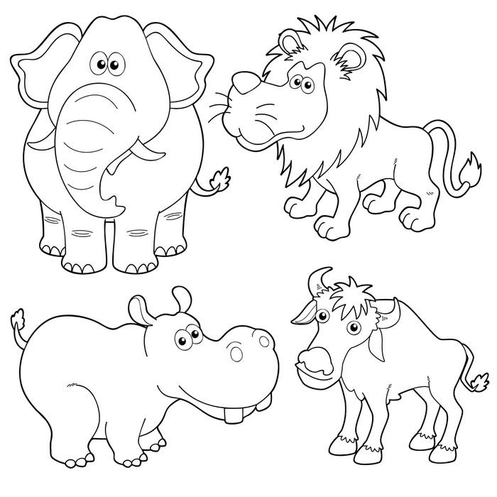 Fotomural ilustraci n de dibujos animados de animales salvajes esquema pixers vivimos para - Fotomurales pixel ...