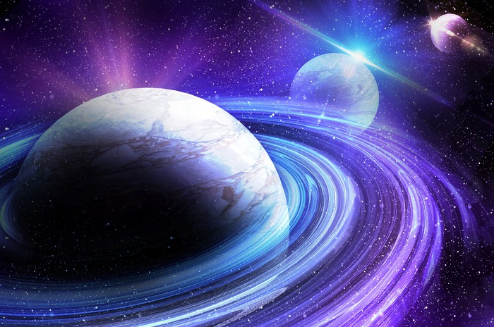 Vinylová Tapeta Planeta s východem slunce na pozadí hvězd - Témata
