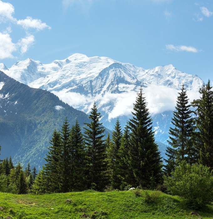 Vinylová Tapeta Mont Blanc horský masív (pohled z Plaine Joux okraji) - Roční období