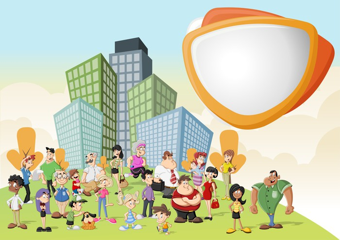 Fotomural Grupo De Personas De Dibujos Animados Felices