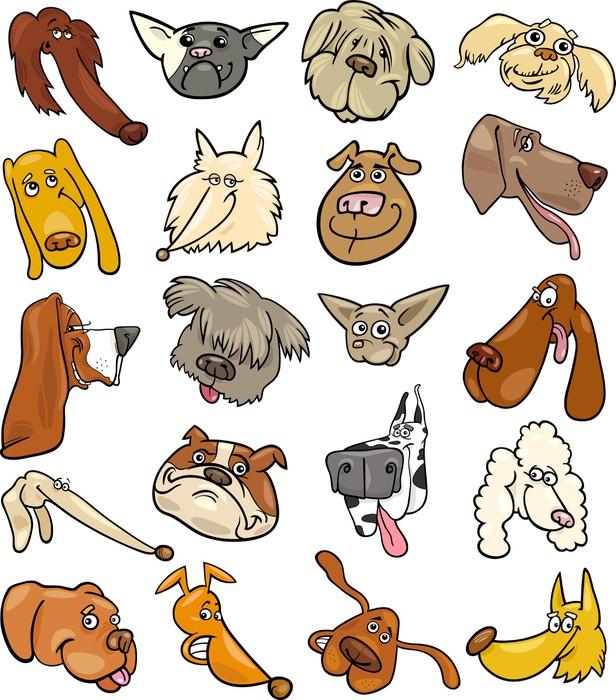 Vinylová Tapeta Kreslený legrační psi míří velká sada - Savci