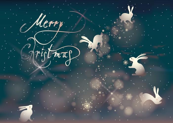 Vinylová Tapeta Merry Christmas / Králíci dělat sněhové vločky na noční obloze - Mezinárodní svátky