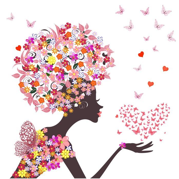 papier peint fleurs mode fille avec un coeur de papillons pixers nous vivons pour changer. Black Bedroom Furniture Sets. Home Design Ideas