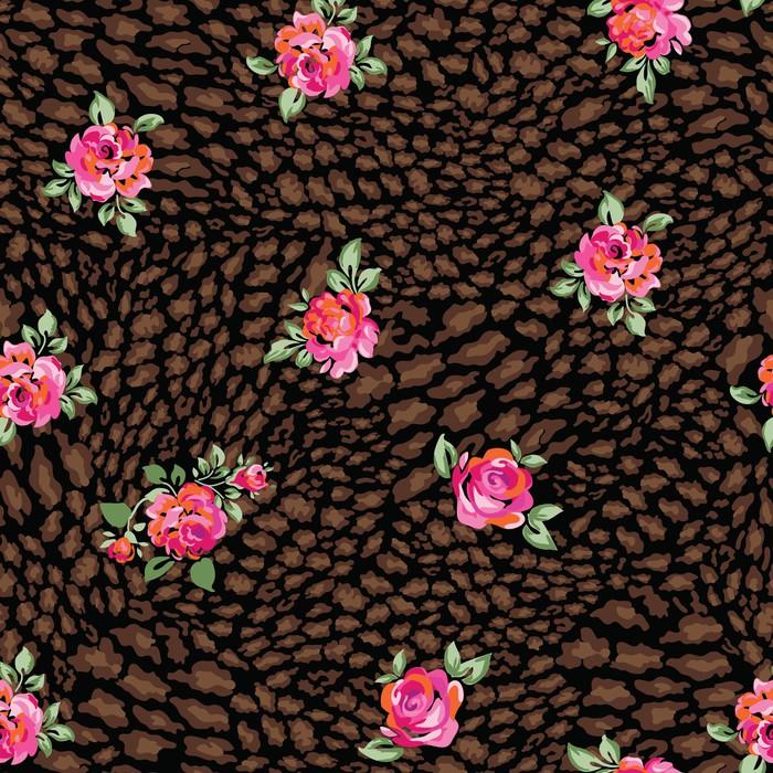 Nálepka Pixerstick Růže přes zvířat tmavé bezešvé pozadí - Pozadí