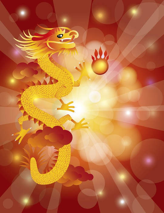 chinese new year dragon on bokeh background vinyl wall mural themes