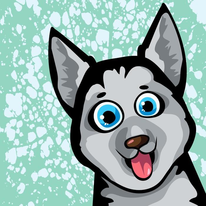Vinylová Tapeta Cartoon funny dog - husky - Pro předškoláka