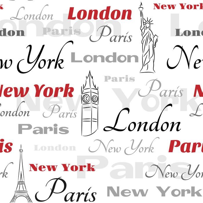 Papier Peint Vinyle Blanc Seamless avec des symboles de villes - Situations