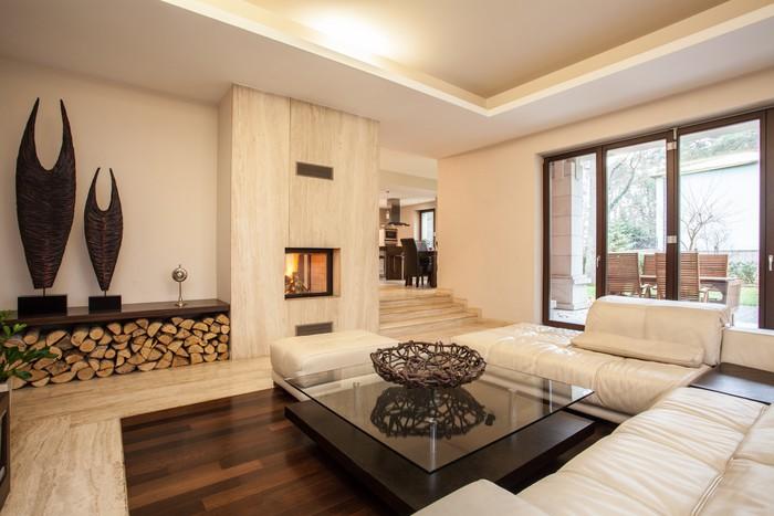 Fotobehang Travertin huis: beige woonkamer • Pixers® - We leven om ...