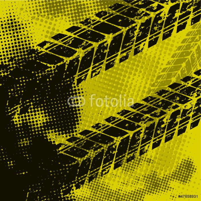 Papier Peint Vinyle Fond jaune de voie de pneu - Arrière plans