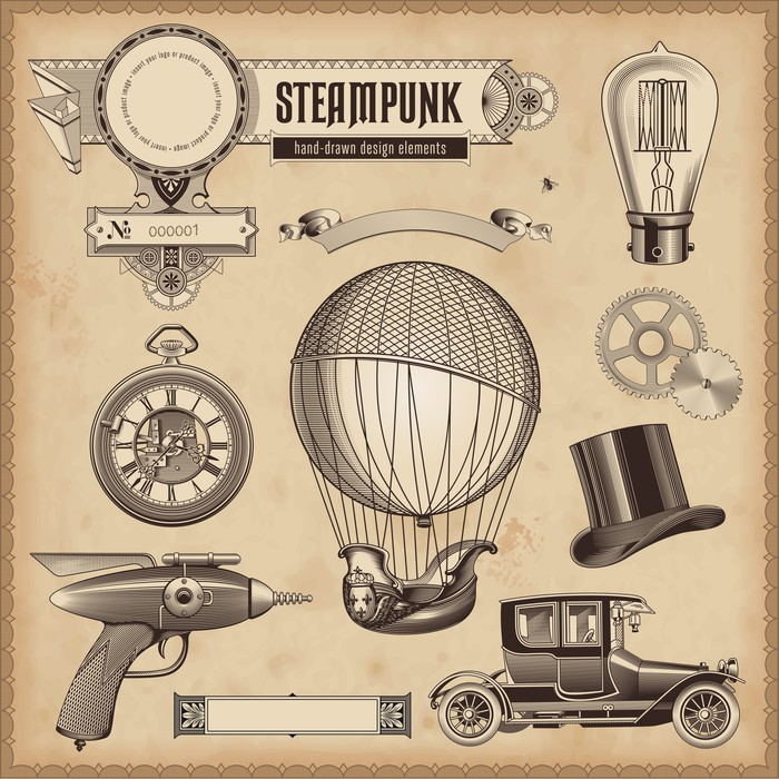 vector set steampunk design elements wall mural pixers we live to change. Black Bedroom Furniture Sets. Home Design Ideas