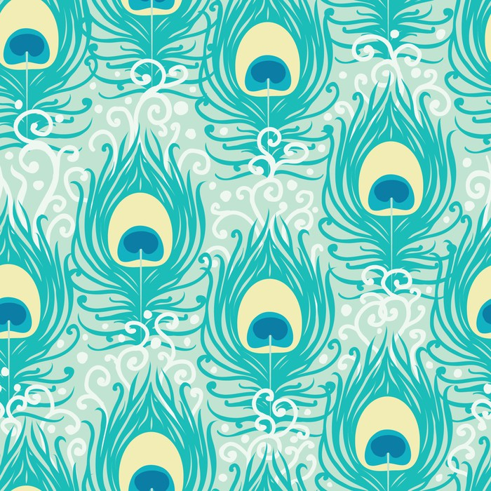 Peacock feathers vector seamless pattern background with hand Vinyl Wallpaper - Textures
