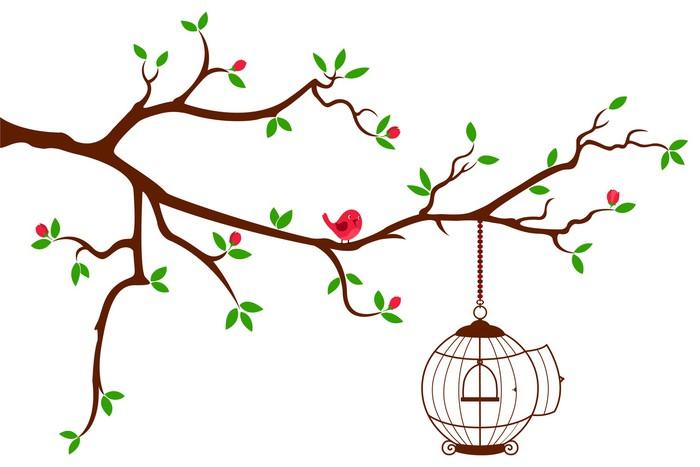 Vinilo Pixerstick Rama de árbol con redondeado jaula de pájaros ...