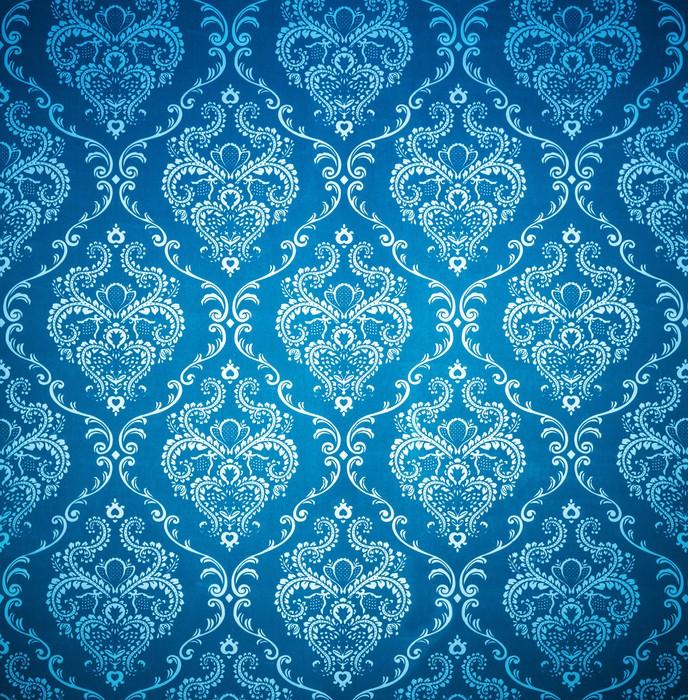 Vinilo Pixerstick Damasco Perfecta Imagen De Fondo Azul