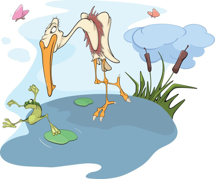 Vinylová Tapeta Heron a žába. Cartoon - Ptáci