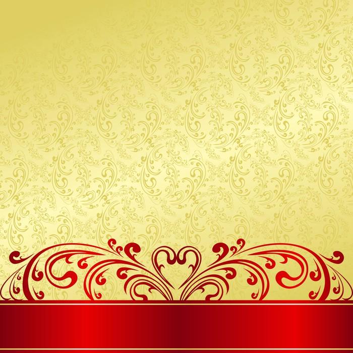 Vinylová Tapeta Luxury Background zdobené Vintage ornament: zlatá a červená. - Pozadí