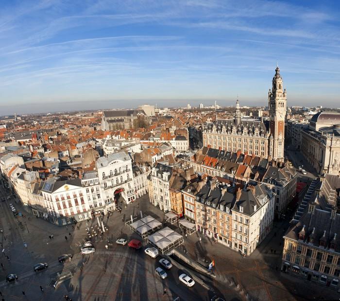 Vinylová Tapeta Vue aérienne du centrum ville de Lille - Evropa