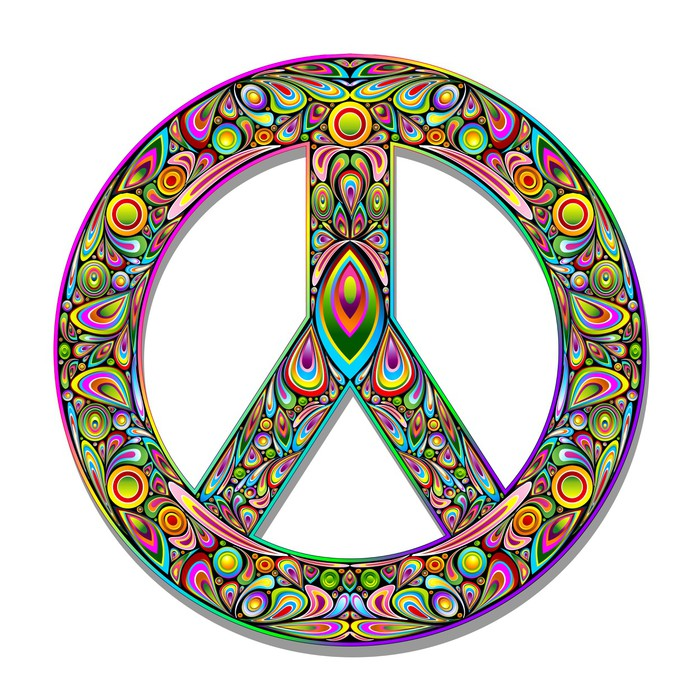 papier peint symbole de la paix psych d lique design art simbolo pace psichedelico pixers. Black Bedroom Furniture Sets. Home Design Ideas