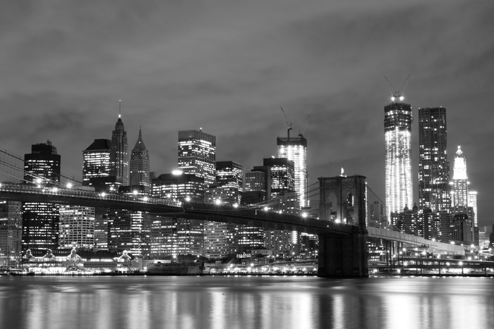 Brooklyn Bridge and Manhattan Skyline At Night New York City Wall