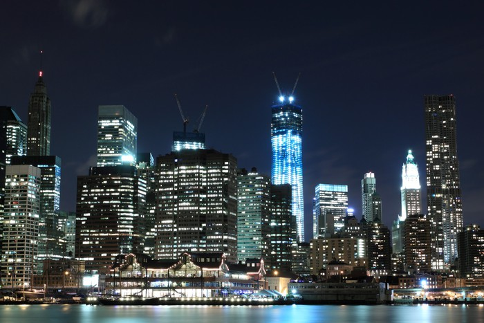Manhattan Skyline At Night New York City Wall Mural Pixers We