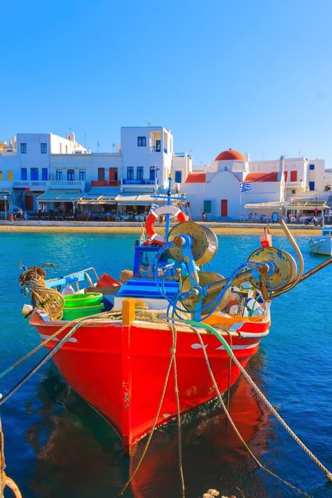 Vinylová Tapeta Barevné dřevěné rybářské lodě, front view, ostrov Mykonos starý přístav - Evropská města