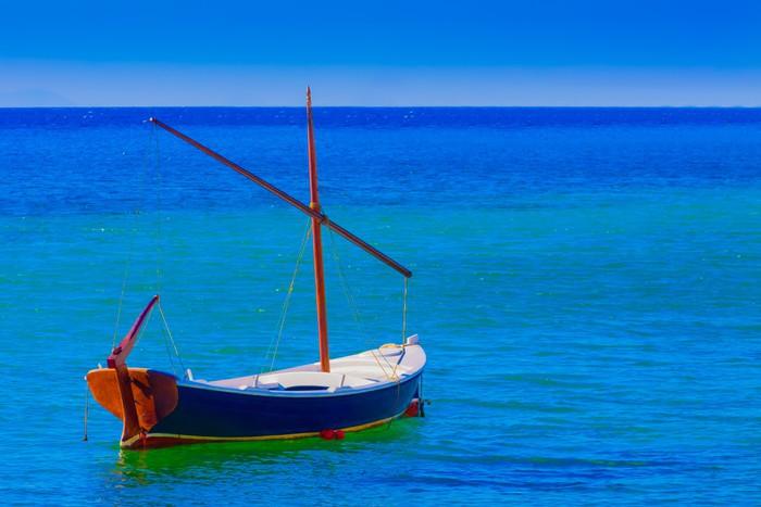 Vinylová Tapeta Lonely loď v ostrovních Mykonos Řecko Kyklady - Evropská města