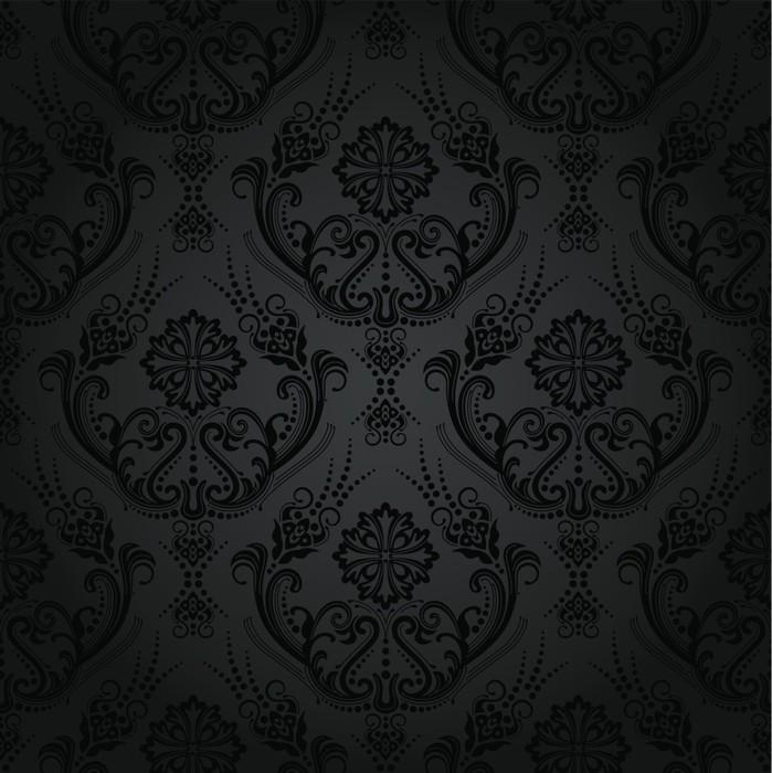 Carta da parati lusso nero motivo floreale carta da parati for Carta da parati nera