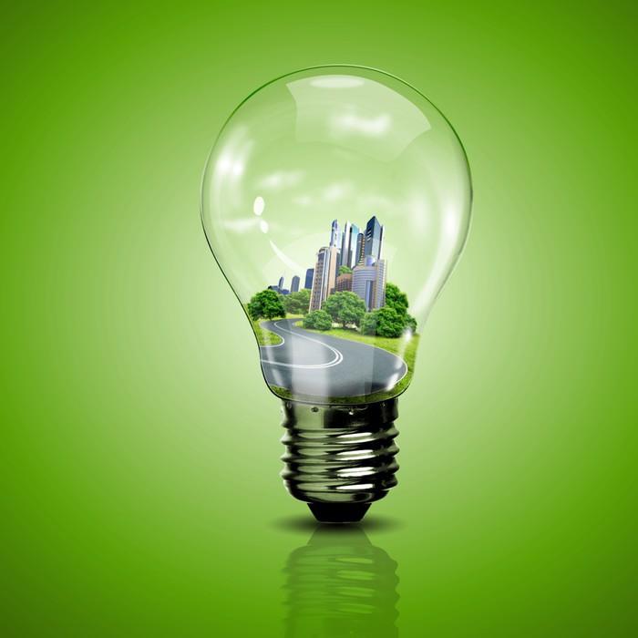 Vinylová Tapeta Elektrické žárovky a planet uvnitř - Ekologie
