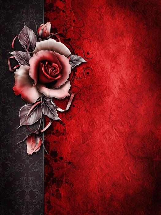 Fototapete Gothic Hintergrund Mit Roten Rose Pixers