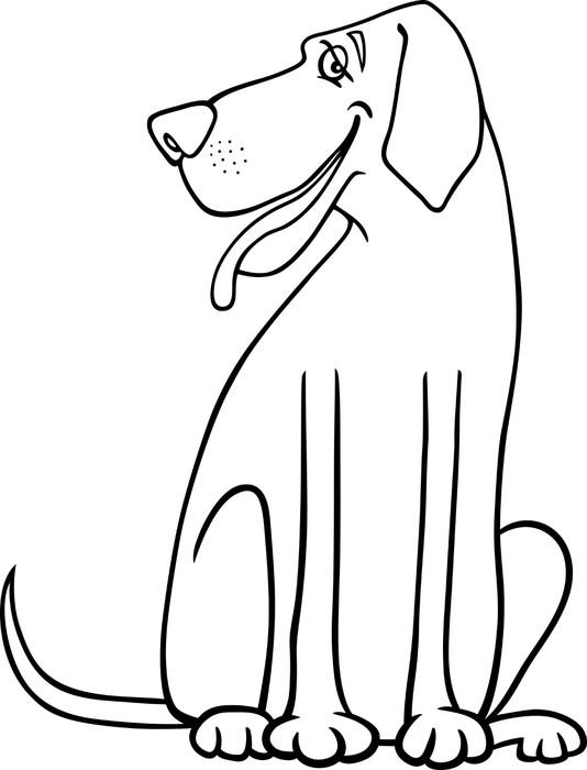 fototapete dogge hund cartoon zum ausmalen • pixers®  wir