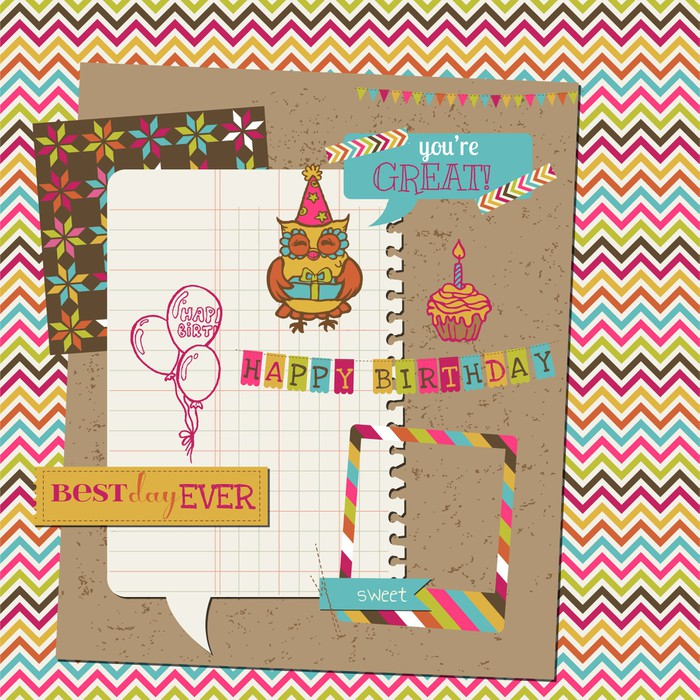 Retro Birthday Celebration Design Elements For Scrapbook Wall
