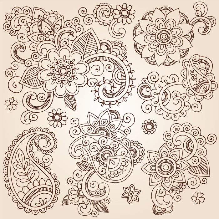 Ornate henna paisley doodle vector design elements wall for Mural vector