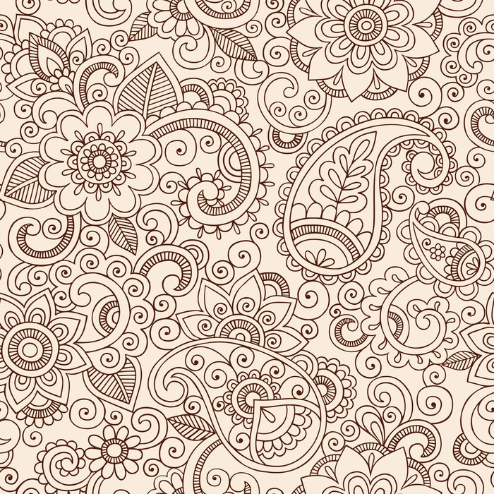 Ornate henna paisley pattern doodle vector design wall for Mural vector