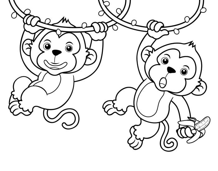 Vinilo Pixerstick Ilustración de dibujos animados de monos - Libro ...